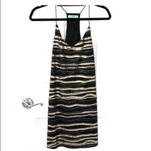 Karlie gold and black sequin mini dress